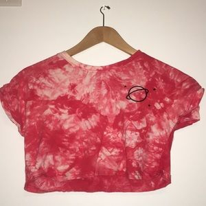 A Red and white crop top.